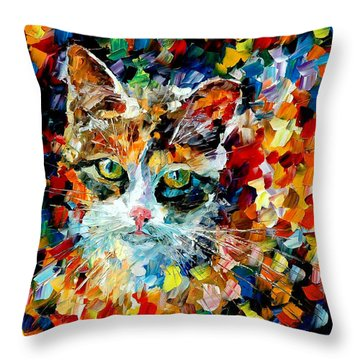 Charming Cat Throw Pillow by Leonid Afremov