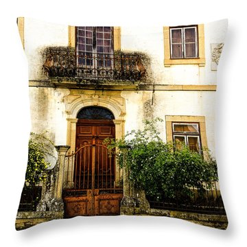 Charming House In Portugal Throw Pillow