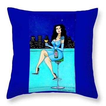 Charming Lady At Night Throw Pillow