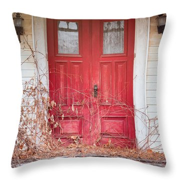 Charming Old Red Doors Portrait Throw Pillow