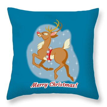 Charming Retro Reindeer Throw Pillow by J L Meadows