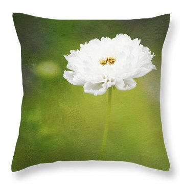 Charming White Cosmos Throw Pillow