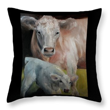 Charolais Cow Calf Painting Throw Pillow by Michele Carter