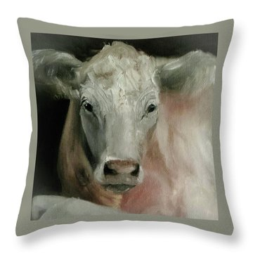 Charolais Cow Painting Throw Pillow