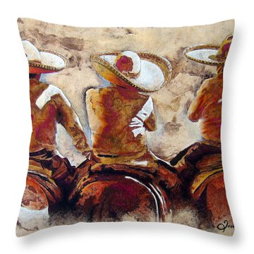 Charros Throw Pillow by J- J- Espinoza