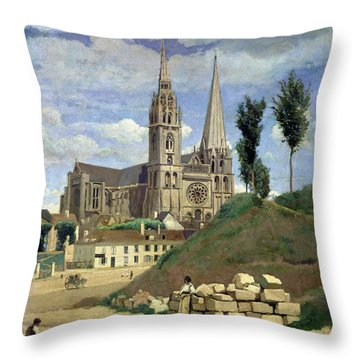 Chartres Cathedral Throw Pillow by Jean Baptiste Camille Corot