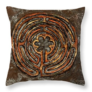 Chartres Style Labyrinth Earth Tones Throw Pillow