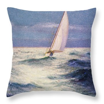 Chas Marer - Sailboat Throw Pillow by Hawaiian Legacy Archive - Printscapes