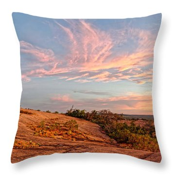 Chasing Angels Of Light Over Enchanted Rock - Fredericksburg Texas Hill Country Throw Pillow