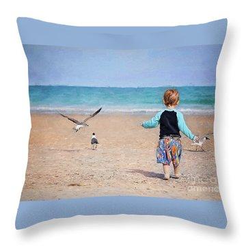 Chasing Birds On The Beach Throw Pillow