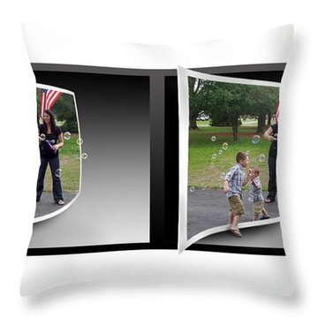 Throw Pillow featuring the photograph Chasing Bubbles - Gently Cross Your Eyes And Focus On The Middle Image by Brian Wallace