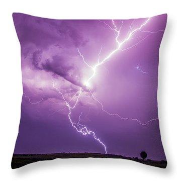 Chasing Nebraska Lightning 018 Throw Pillow