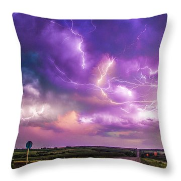 Chasing Nebraska Lightning 056 Throw Pillow