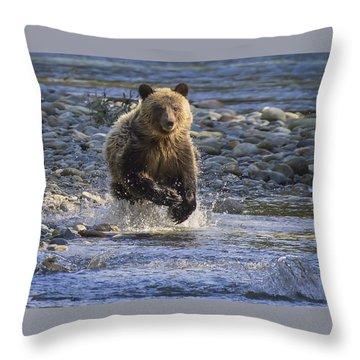 Chasing Salmon Throw Pillow