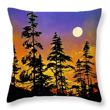 Chasing The Moon Throw Pillow by Hanne Lore Koehler