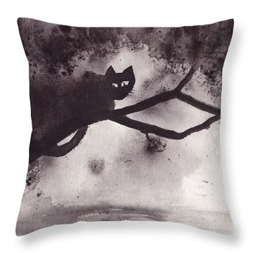 Throw Pillow featuring the painting Chat Dans L'arbre by Marc Philippe Joly