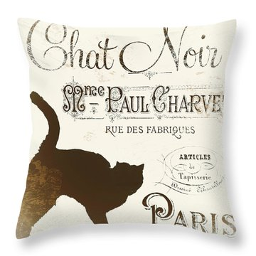 Chat Noir Paris Throw Pillow by Mindy Sommers