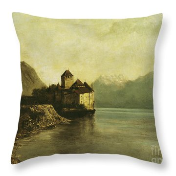Chateau De Chillon Throw Pillow by Gustave Courbet