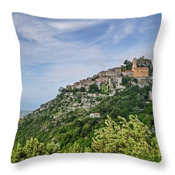 Chateau D'eze On The Road To Monaco Throw Pillow
