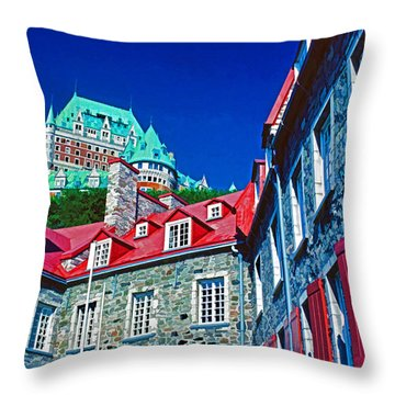 Chateau Frontenac Throw Pillow by Dennis Cox