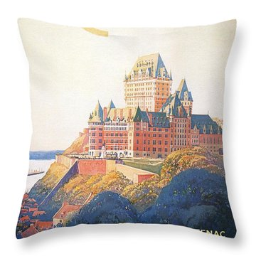 Chateau Frontenac Luxury Hotel In Quebec, Canada - Vintage Travel Advertising Poster Throw Pillow
