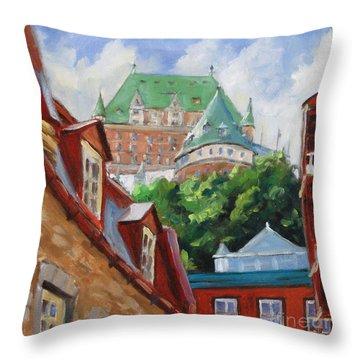 Chateau Frontenac Throw Pillow by Richard T Pranke
