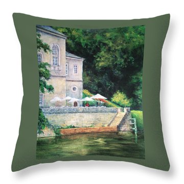 Chateau On The Lot River Throw Pillow by Jill Musser