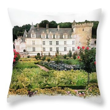 Throw Pillow featuring the photograph Chateau Villandry Flower And Vegetable Gardens by Joseph Hendrix