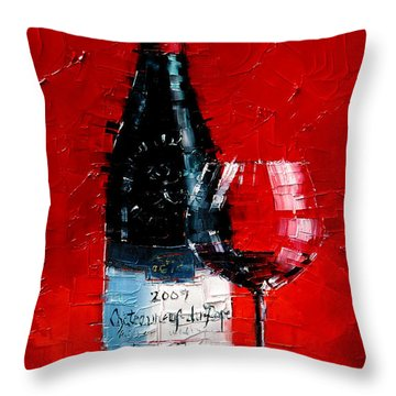Still Life With Wine Bottle And Glass I Throw Pillow