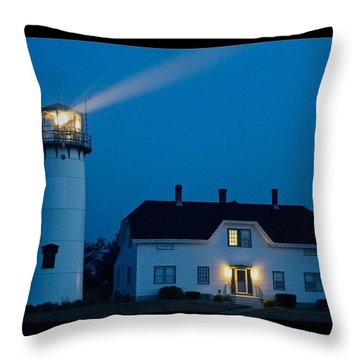 Chatham Light At Twilight Throw Pillow by Justin Connor