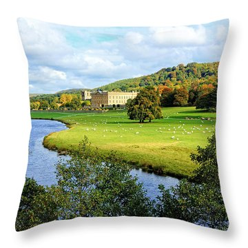 Chatsworth House View Throw Pillow