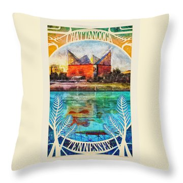Chattanooga Aquarium Poster Throw Pillow
