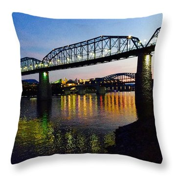 Chattanooga Nites Throw Pillow by Steven Lebron Langston