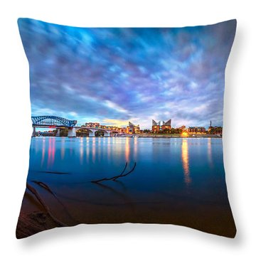 Chattanooga Riverfront At Dawn  Throw Pillow by Steven Llorca