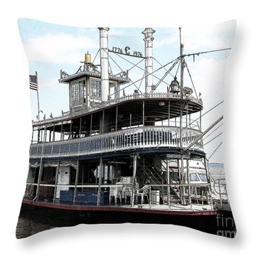 Chautauqua Belle Steamboat With Ink Sketch Effect Throw Pillow