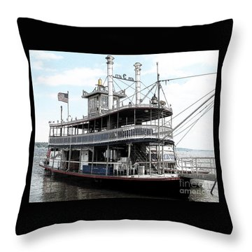 Throw Pillow featuring the photograph Chautauqua Belle Steamboat With Ink Sketch Effect by Rose Santuci-Sofranko