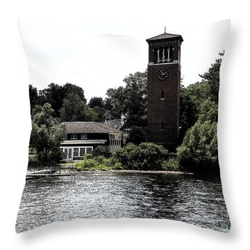 Throw Pillow featuring the photograph Chautauqua Institute Miller Bell Tower 2 With Ink Sketch Effect by Rose Santuci-Sofranko