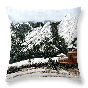 Throw Pillow featuring the painting Chautauqua - Winter, Late Afternoon by Tom Roderick