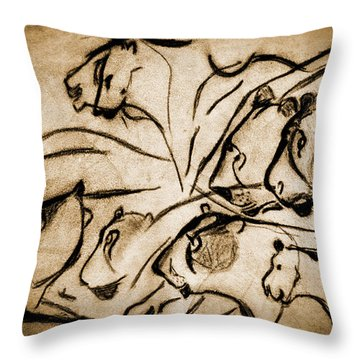 Chauvet Cave Lions Burned Leather Throw Pillow