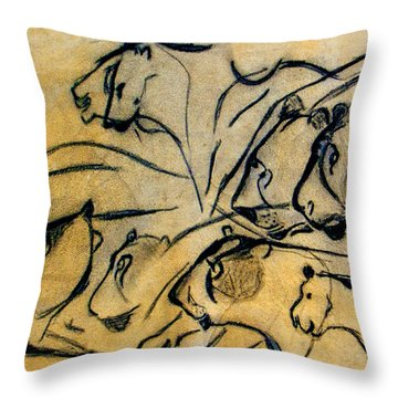 chauvet cave lions Clear Throw Pillow