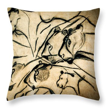 Chauvet Cave Lions Throw Pillow