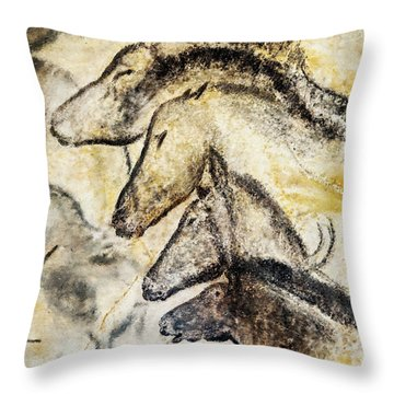 Chauvet Horses Throw Pillow