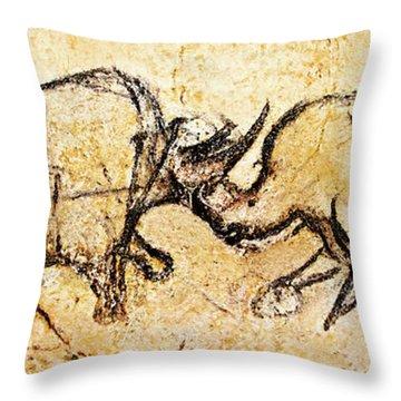 Chauvet Rhinoceros In Combat Throw Pillow