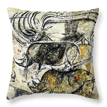 Chauvet Three Rhinoceros Throw Pillow