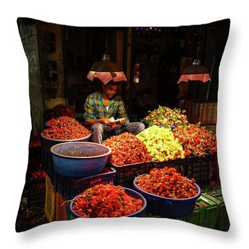 Throw Pillow featuring the photograph Cheannai Flower Market Colors by Mike Reid