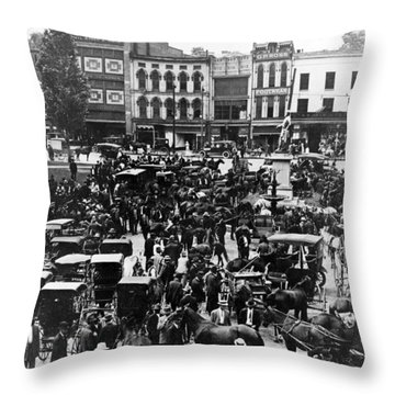 Cheapside Public Square In Lexington - Kentucky - April 7  1920 Throw Pillow by International  Images