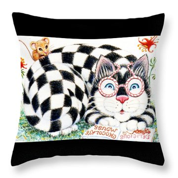 Checkers Throw Pillow by Dee Davis