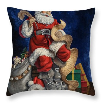 Throw Pillow featuring the painting Checking His List by Kyle Wood