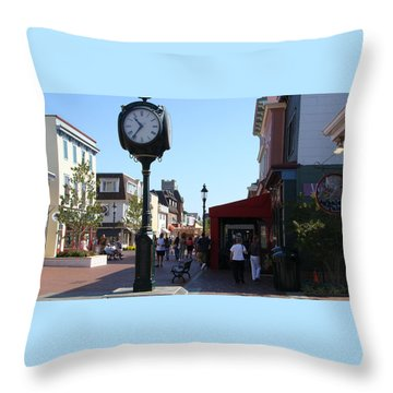 Checking Out The Shops In Cape May Throw Pillow by Rod Jellison