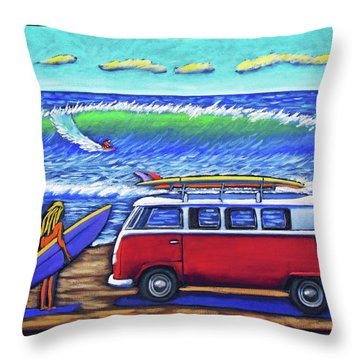 Checking Out The Waves Throw Pillow